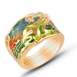 Frog 🐸 Enamel Golden Ring 7-10 NEW!